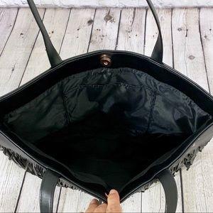 Victoria's Secret Bags - Victoria's Secret Black Fringe Large Tote Bag NWT